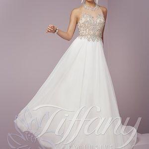 Tiffany Choker Neck Silky Chiffon A-Line Dress 12